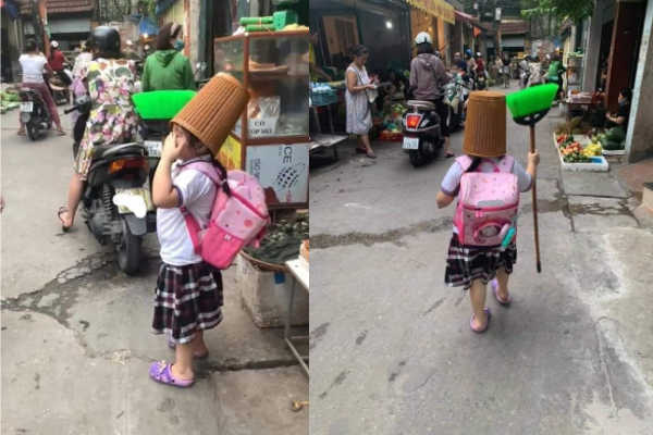 Bị phạt trực nhật, học sinh mua chổi và sọt rác mang đi học khiến dân tình bật cười thả tim