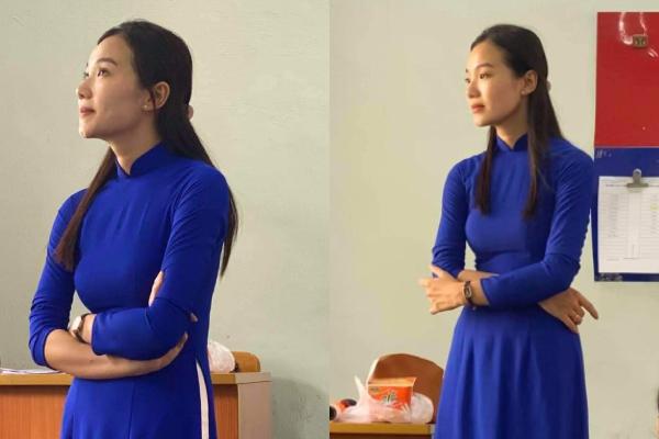 Cô giáo diện áo dài trên lớp đẹp tựa nàng thơ trong sách Ngữ văn được học trò chụp lén