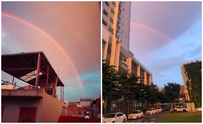 Loạt ảnh cầu vồng rực rỡ sau cơn mưa chiều qua ở Hà Nội khiến bao người ngẩn ngơ