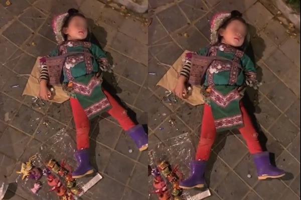 Xót xa hình ảnh cô bé bán hàng rong nằm ngủ ngon lành giữa đường phố Sapa lạnh lẽo