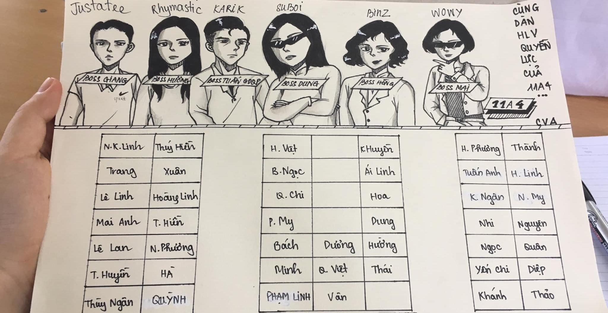 """Khi fan Rap Việt vẽ sơ đồ lớp thì thầy cô giáo bỗng hóa thân thành những giám khảo rapper """"chất ngầu"""""""
