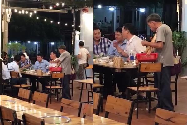 Cụ già bán hàng rong đứng khép nép bên bàn ăn của 1 nhóm đàn ông và câu chuyện phía sau lấy đi nước mắt nhiều người