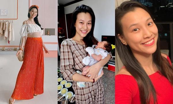 Khác với các mẹ bỉm sữa Vbiz sang chảnh, Á hậu Hoàng Oanh trung thành với style giản dị, rộng thùng thình