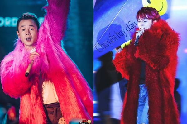 """Hoá ra trước Binz, Sơn Tùng MTP cũng từng """"đại náo"""" sân khấu trong chiếc áo lông """"siêu to khổng lồ"""" không kém"""