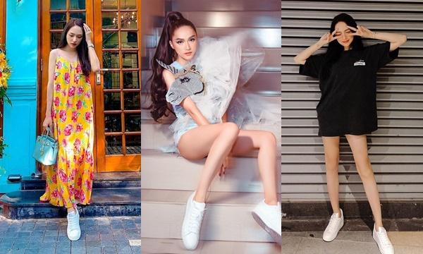 Quả nhiên chỉ có Hương Giang chẳng ngán bất kỳ style nào: Mix sneaker trắng với đủ loại quần áo 'trên trời dưới biển'