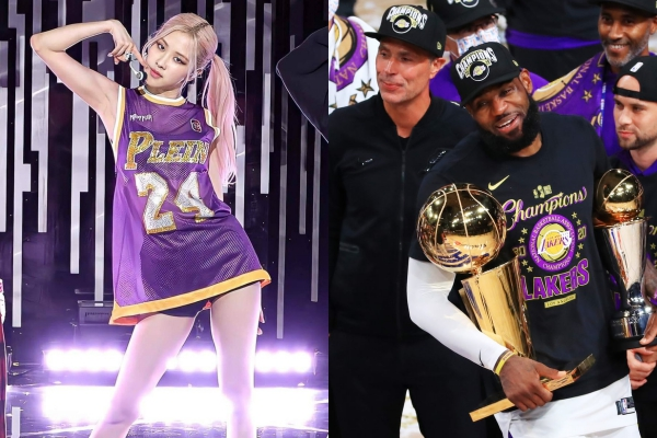 Đẳng cấp như Rosé (Black Pink): Diện áo đấu của LA Lakers lên sân khấu Pretty Savage, 1 ngày sau đội bóng liền đăng quang ngôi vô địch.