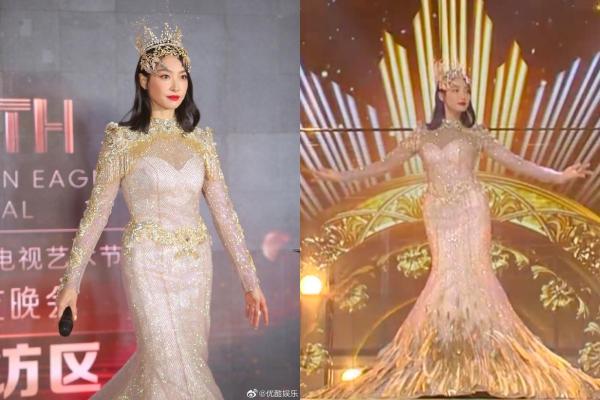 Trở thành Nữ thần Kim Ưng 2020: Tống Thiến gây thất vọng bởi chiếc váy thảm hoạ, gương mặt cứng đơ như tượng sáp