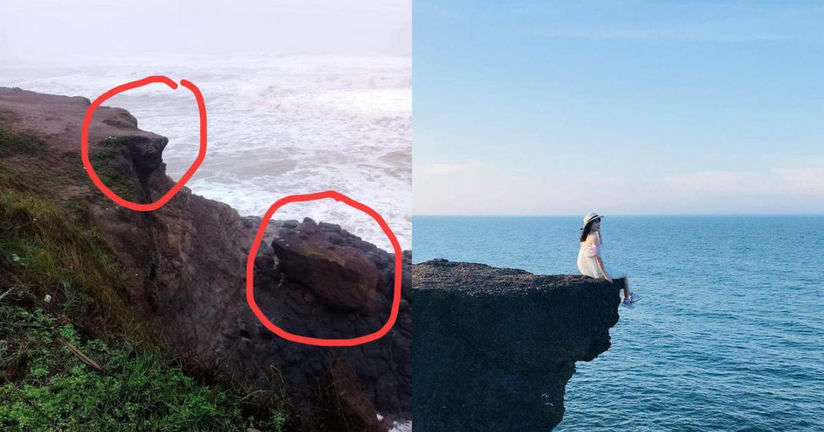 """Bão đánh sập mỏm đá """"huyền thoại"""" - địa điểm du lịch nổi tiếng của Quảng Trị."""