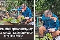 Thương cảm hình ảnh cụ ông vừa ăn cơm cứu trợ vừa sụt sùi khóc sau 5 ngày nhịn đói