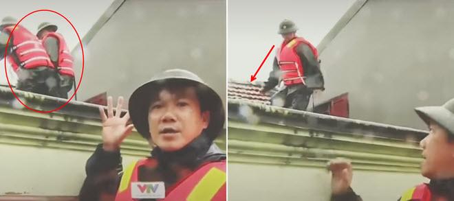 Xót xa cảnh chiến sĩ biên phòng đang cứu hộ lũ lụt thì rơi xuống nhà dân do VTV vô tình ghi lại được