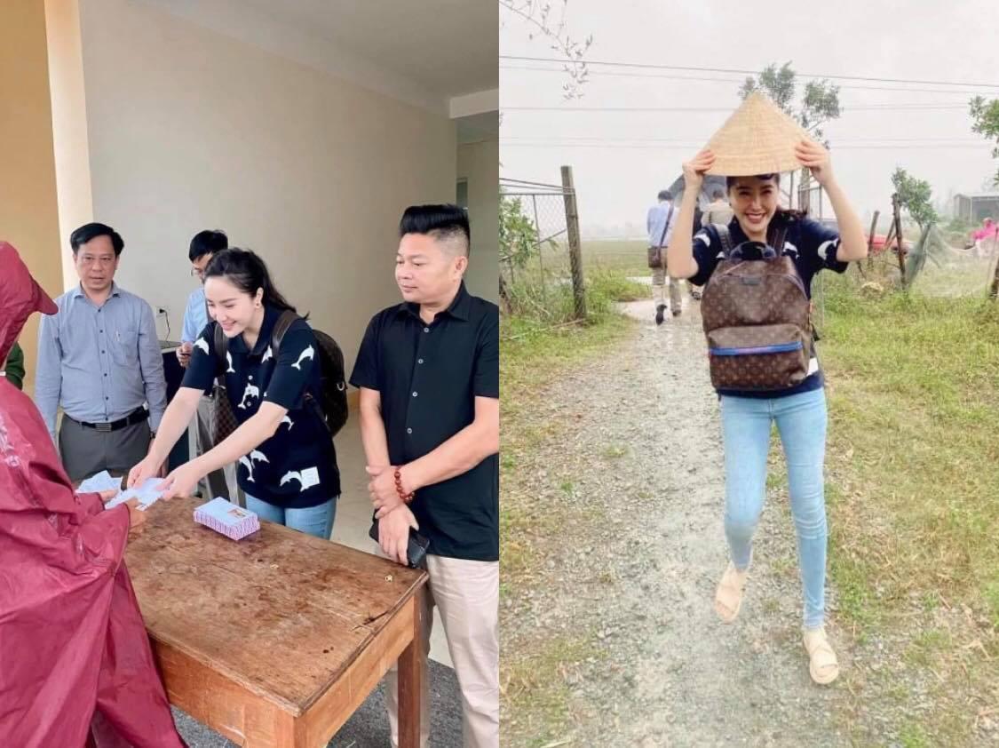 Bảo Thy giản dị đi từ thiện tại miền Trung mặc cho lời đồn đu fame
