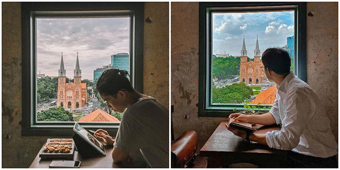 Sốt rần rật Quán cà phê có ô cửa sổ nhìn thẳng ra nhà thờ Đức Bà ở Sài Gòn