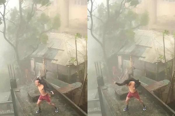 """Sự thật đằng sau clip người đàn ông dùng """"nội lực"""" ngăn siêu bão số 9 hiện đang gây """"bão"""" mạng xã hội"""