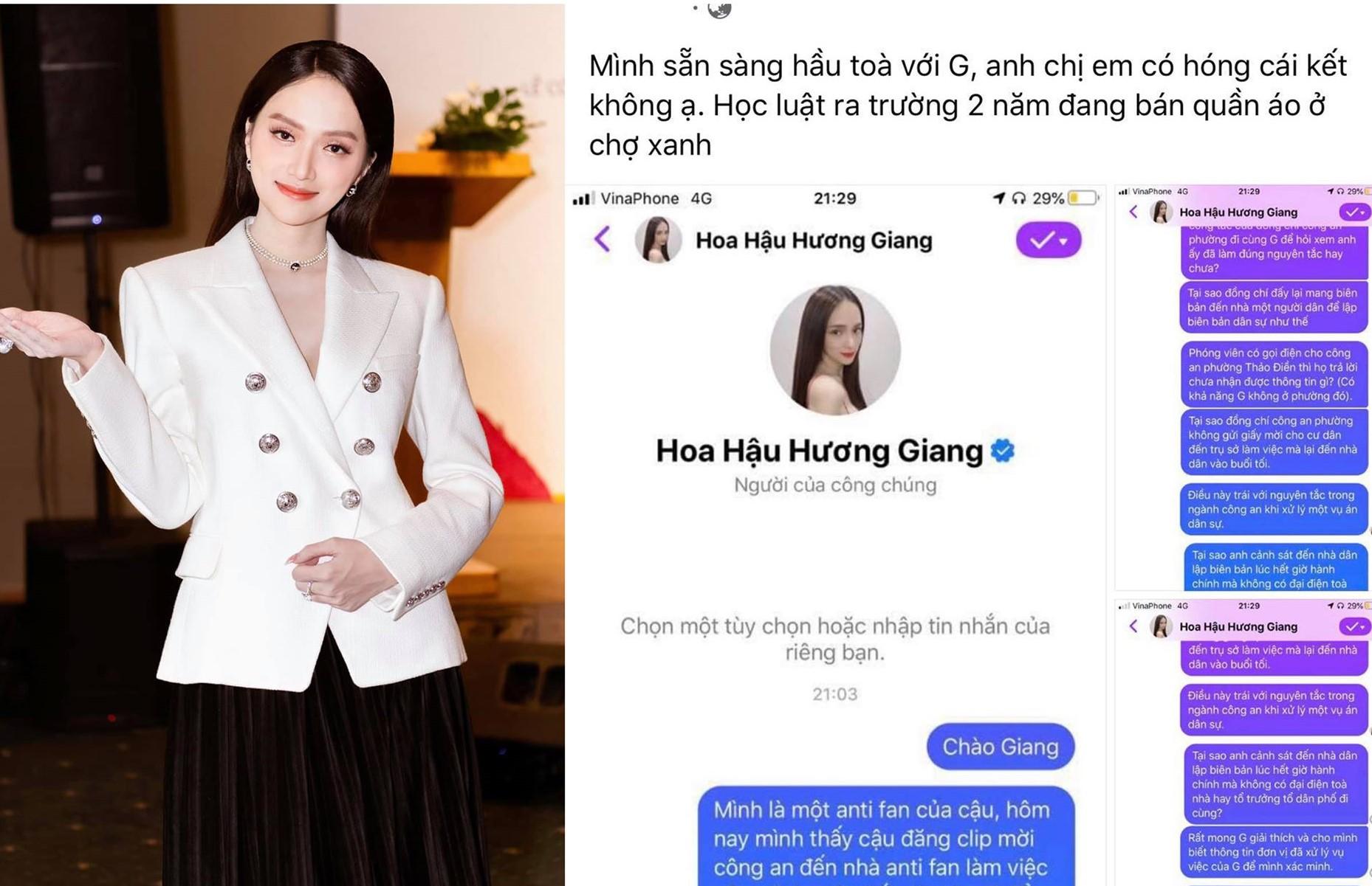 Anti-fans là sinh viên trường luật chất vấn việc Hương Giang mời công an đến nhà, sẵn sàng hầu tòa