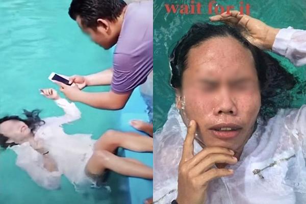 Cái kết hú hồn khi cô gái nhờ bạn trai chụp ảnh so deep trong bể bơi
