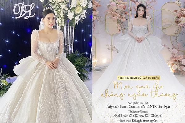 Vợ chồng trung vệ Bùi Tiến Dũng quyết định đấu giá váy cưới trăm triệu để làm từ thiện
