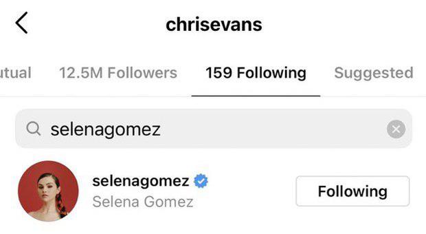 chris evans follow tài khoản instagram của selena gomez